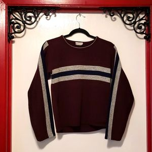 IN CHARGE Burgundy with stripes knit sweater